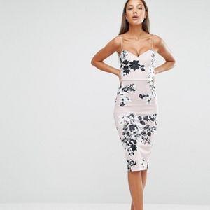 ASOS Plunge Scuba Strappy Mink Floral Pencil Dress